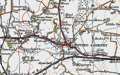 Old map of Chipping Sodbury in 1919