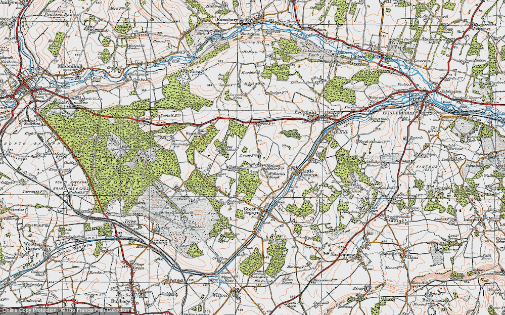 Old Map of Historic Map covering Almshouse Copse in 1919