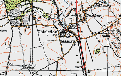 Old map of Chiseldon in 1919