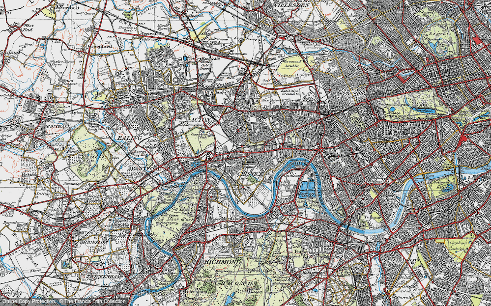 Old Map of Chiswick, 1920 in 1920