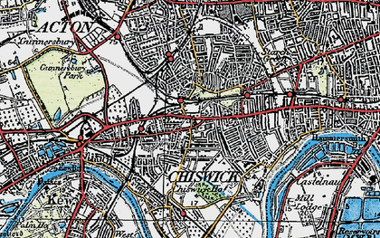 Old map of Chiswick in 1920