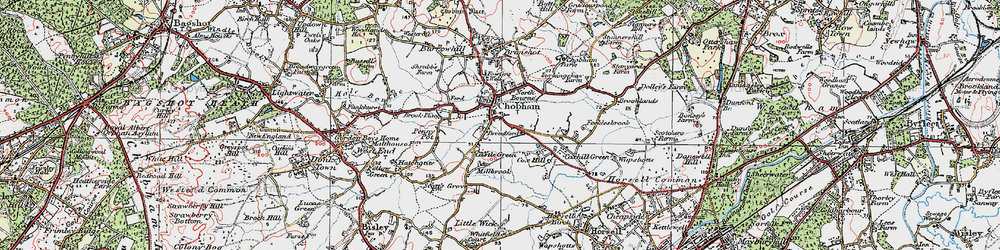 Old map of Chobham in 1920