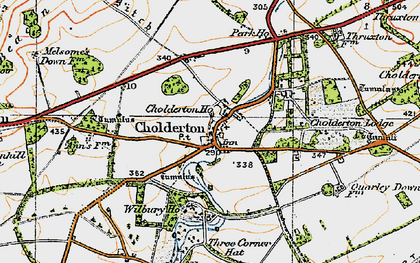 Old map of Cholderton in 1919