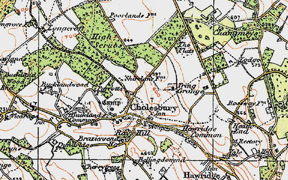 Old map of Cholesbury in 1920