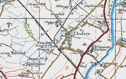 Old map of Cholsey in 1919