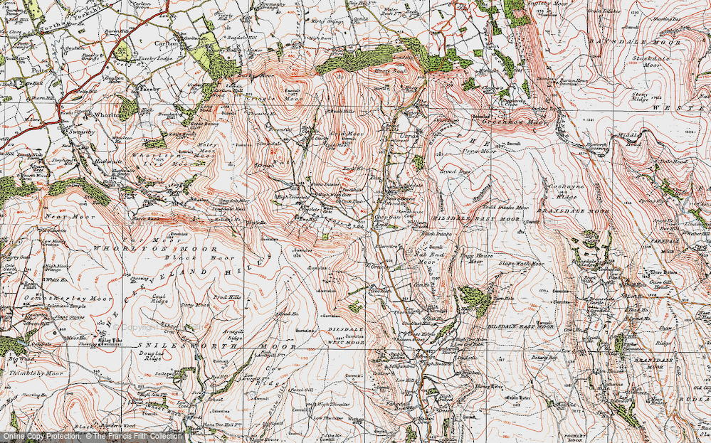 Old Map of Historic Map covering Barker's Crags in 1925