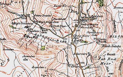 Old map of Barker's Crags in 1925