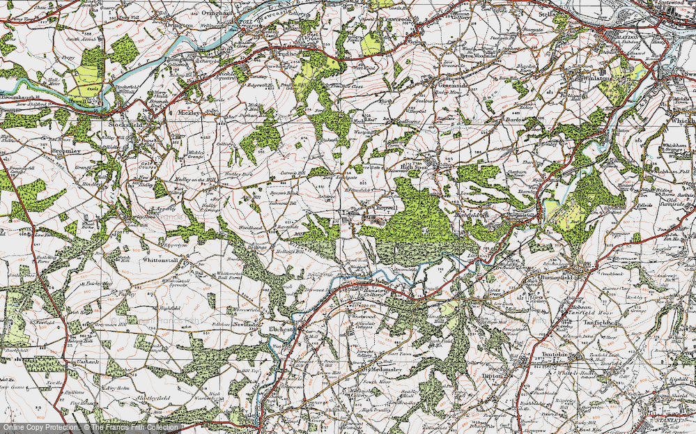Old Map of Historic Map covering Ashtree in 1925