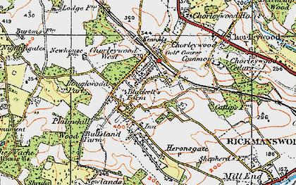 Old map of Chorleywood Bottom in 1920