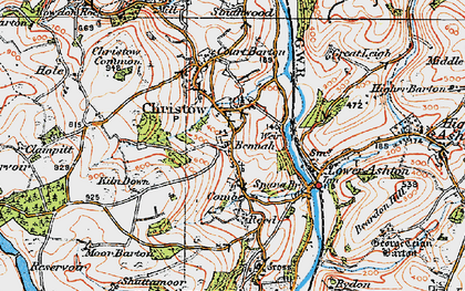 Old map of Christow in 1919