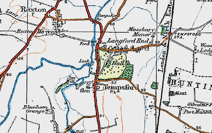 Old map of Church End in 1919
