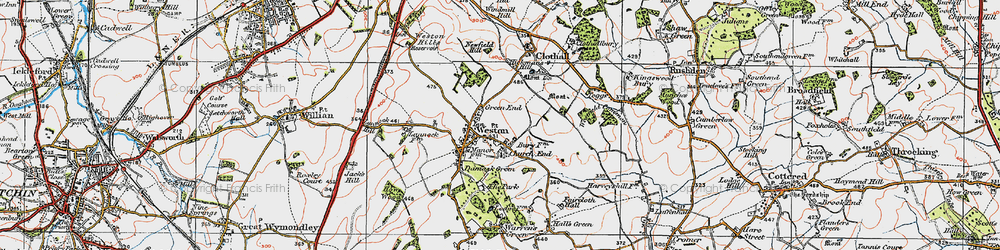 Old map of Weston Bury in 1919