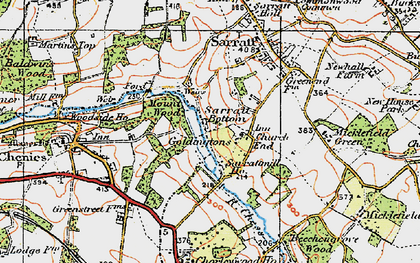 Old map of Church End in 1920