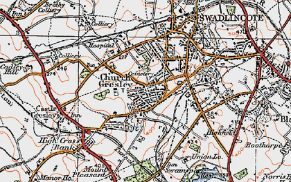 Old map of Church Gresley in 1921