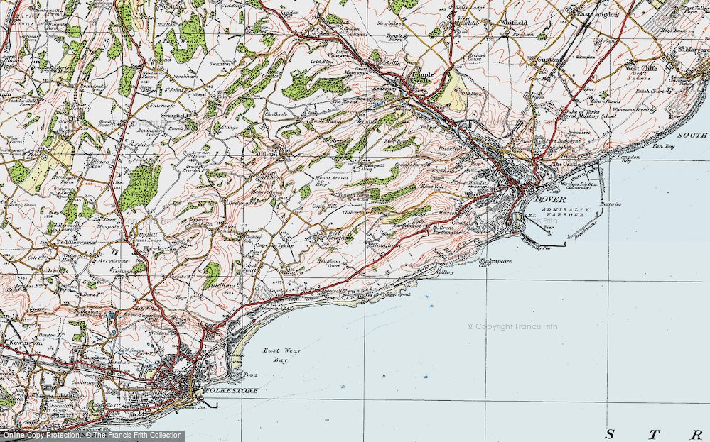 Old Map of Historic Map covering Abbot's Cliff in 1920