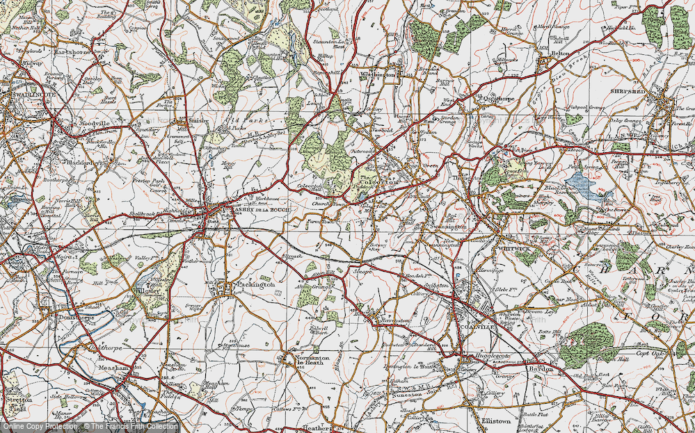 Old Map of Historic Map covering Alton Hill in 1921
