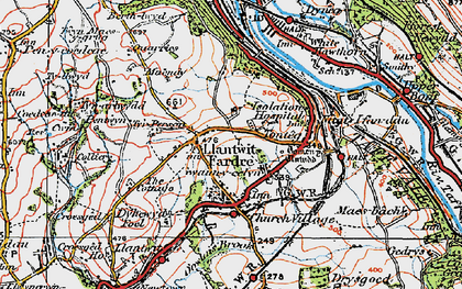Old map of Church Village in 1922