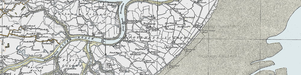 Old map of Foulness Island in 1921