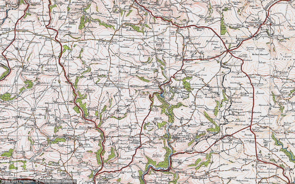 Old Map of Historic Map covering Ashelford in 1919