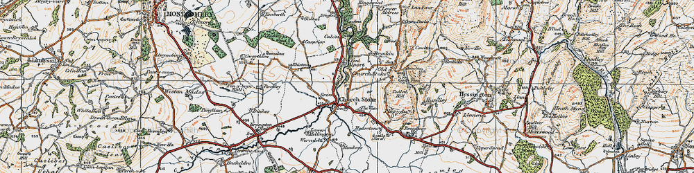 Old map of Churchstoke in 1921
