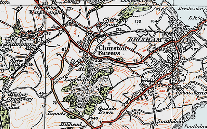 Old map of Churston Ferrers in 1919