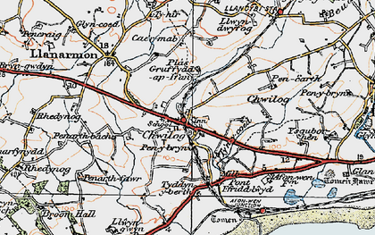 Old map of Chwilog in 1922