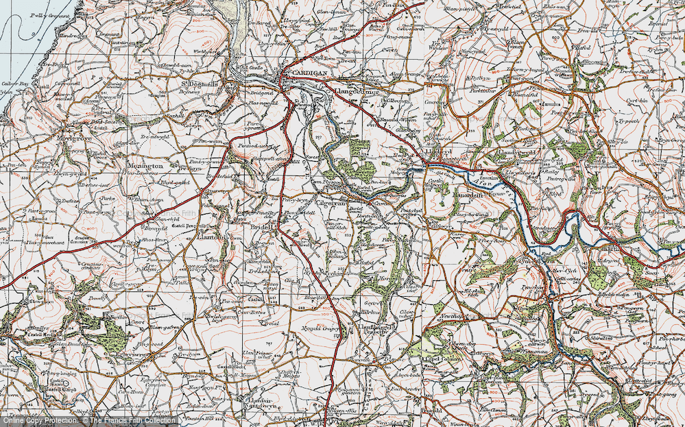 Old Map of Historic Map covering Allt-y-rheiny in 1923