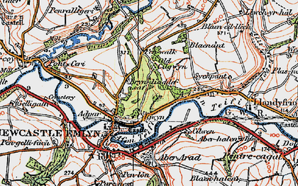 Old map of Afon Teifi in 1923