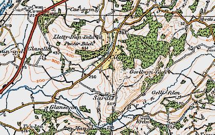 Old map of Cilgwyn in 1923