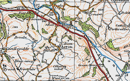Old map of Ciliau Aeron in 1923