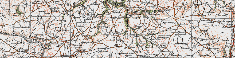 Old map of Afon Pedian in 1922