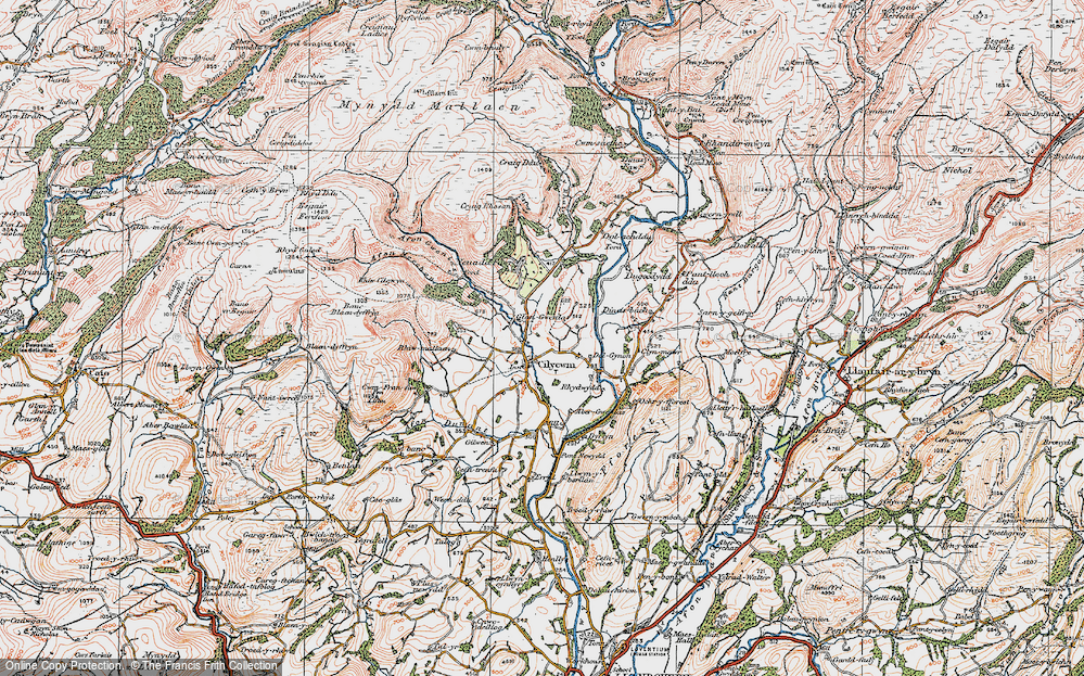 Old Map of Historic Map covering Afon Merchon in 1923