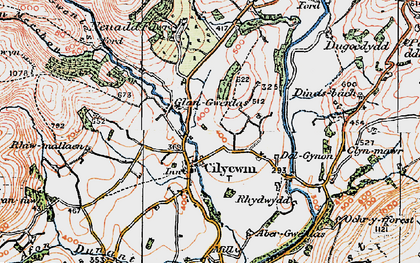 Old map of Afon Tywi in 1923