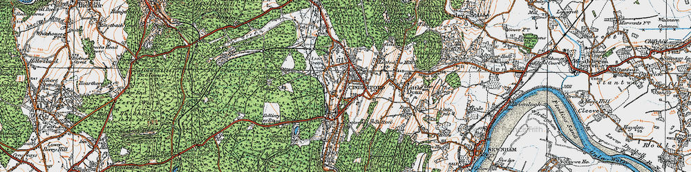 Old map of Cinderford in 1919