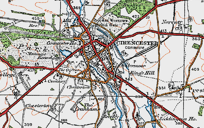 Old map of Cirencester in 1919