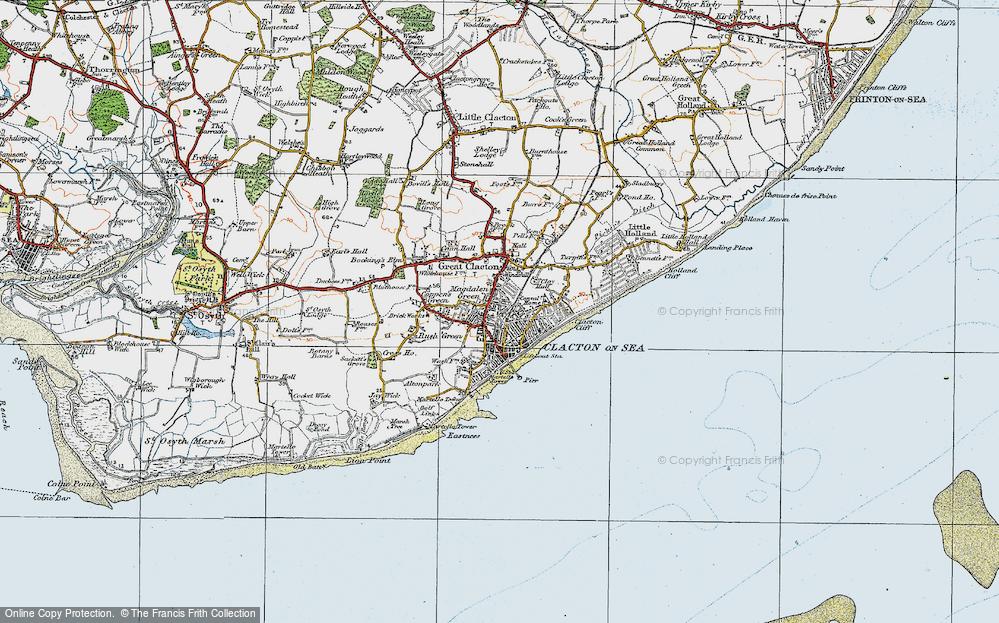 Map of ClactonOnSea 1921 Francis Frith