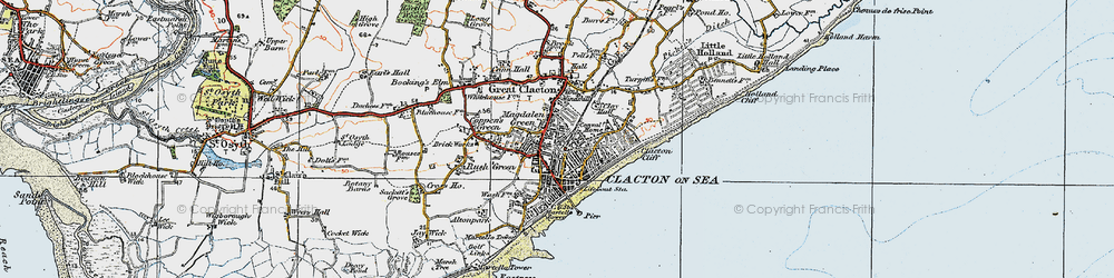 Old map of Clacton-On-Sea in 1921