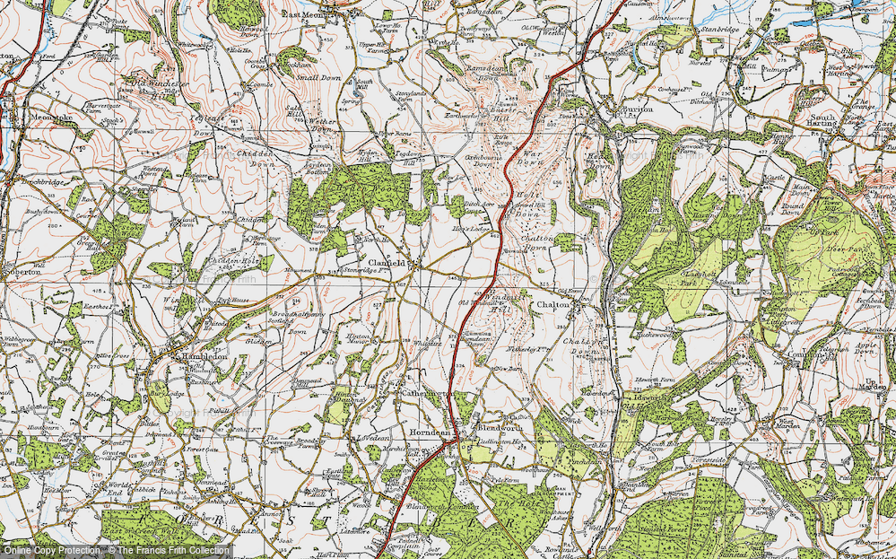 Old Map of Historic Map covering Windmill Hill in 1919