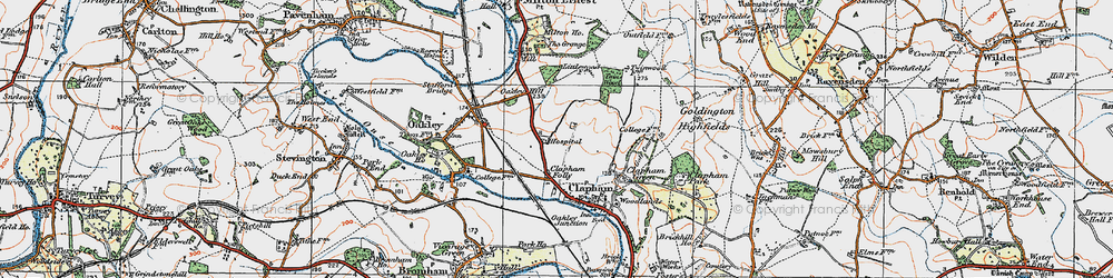 Old map of Clapham in 1919