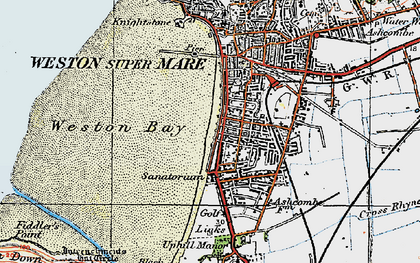 Old map of Weston Bay in 1919