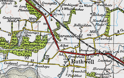 Old map of Thwaite Burn in 1925