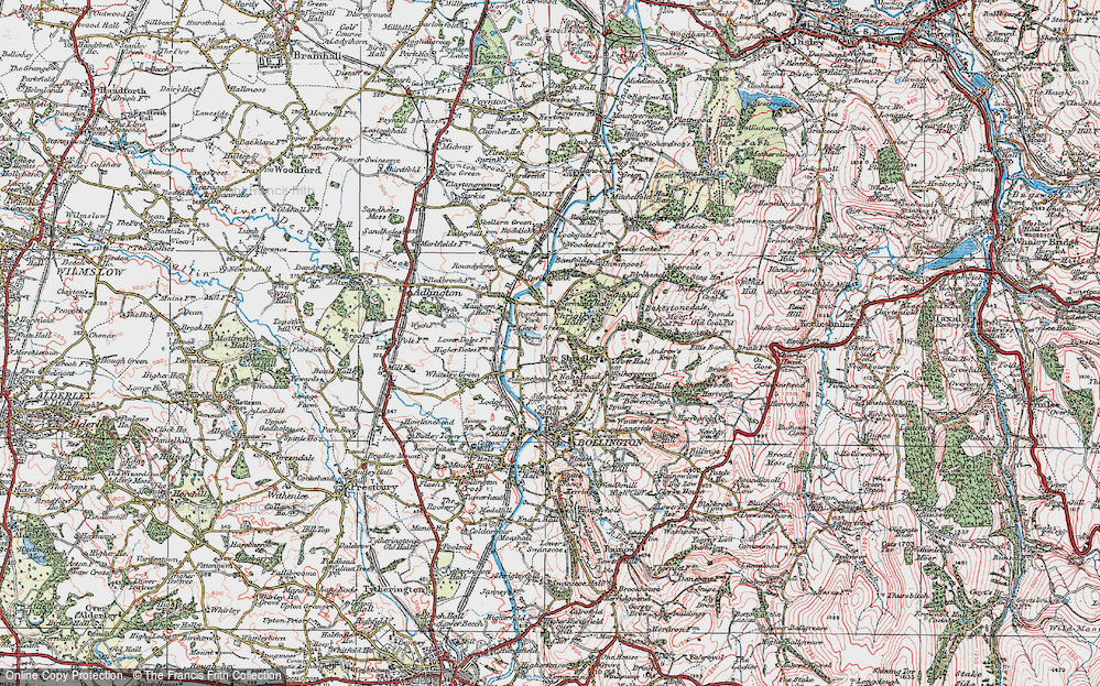 Old Map of Historic Map covering Lane Head in 1923