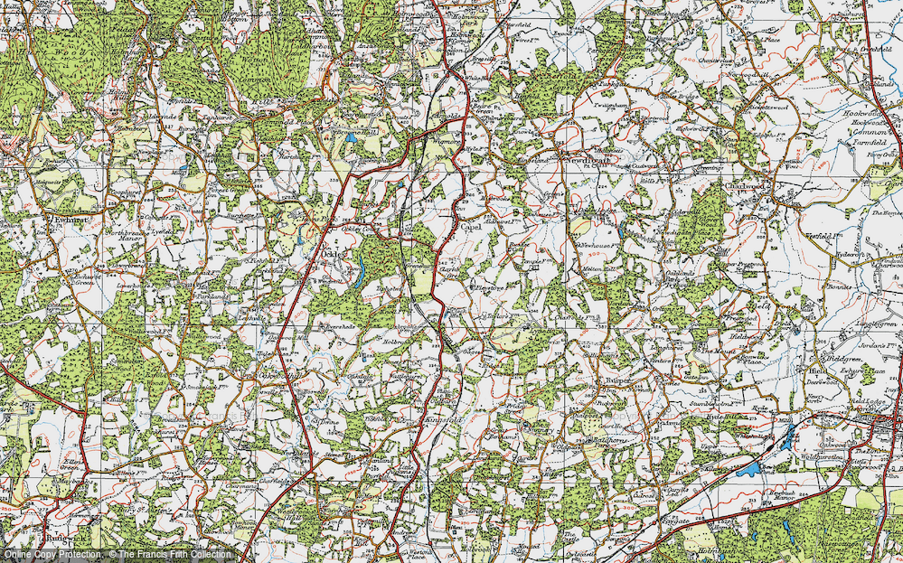 Old Map of Historic Map covering Tiphams in 1920