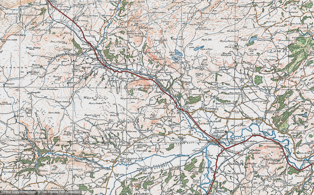 Old Map of Historic Map covering Allt y Genlli in 1921