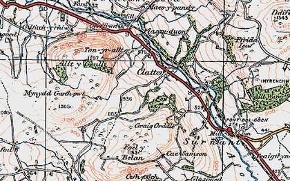 Old map of Allt y Genlli in 1921