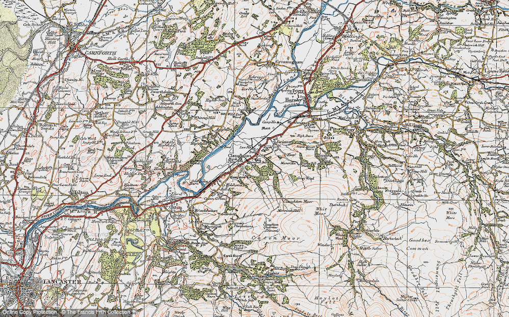 Old Map of Historic Map covering Whit Moor in 1924