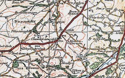 Old map of Clawdd-newydd in 1922