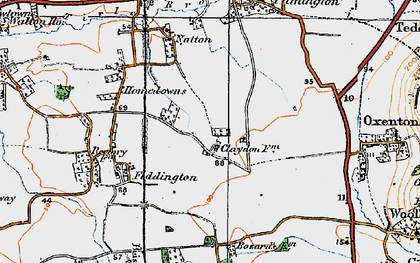 Old map of Claydon in 1919