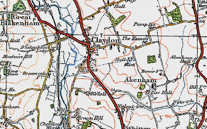 Old map of Claydon in 1921
