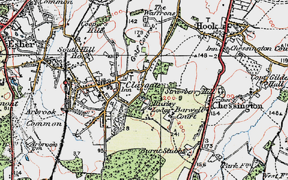 Old map of Claygate in 1920